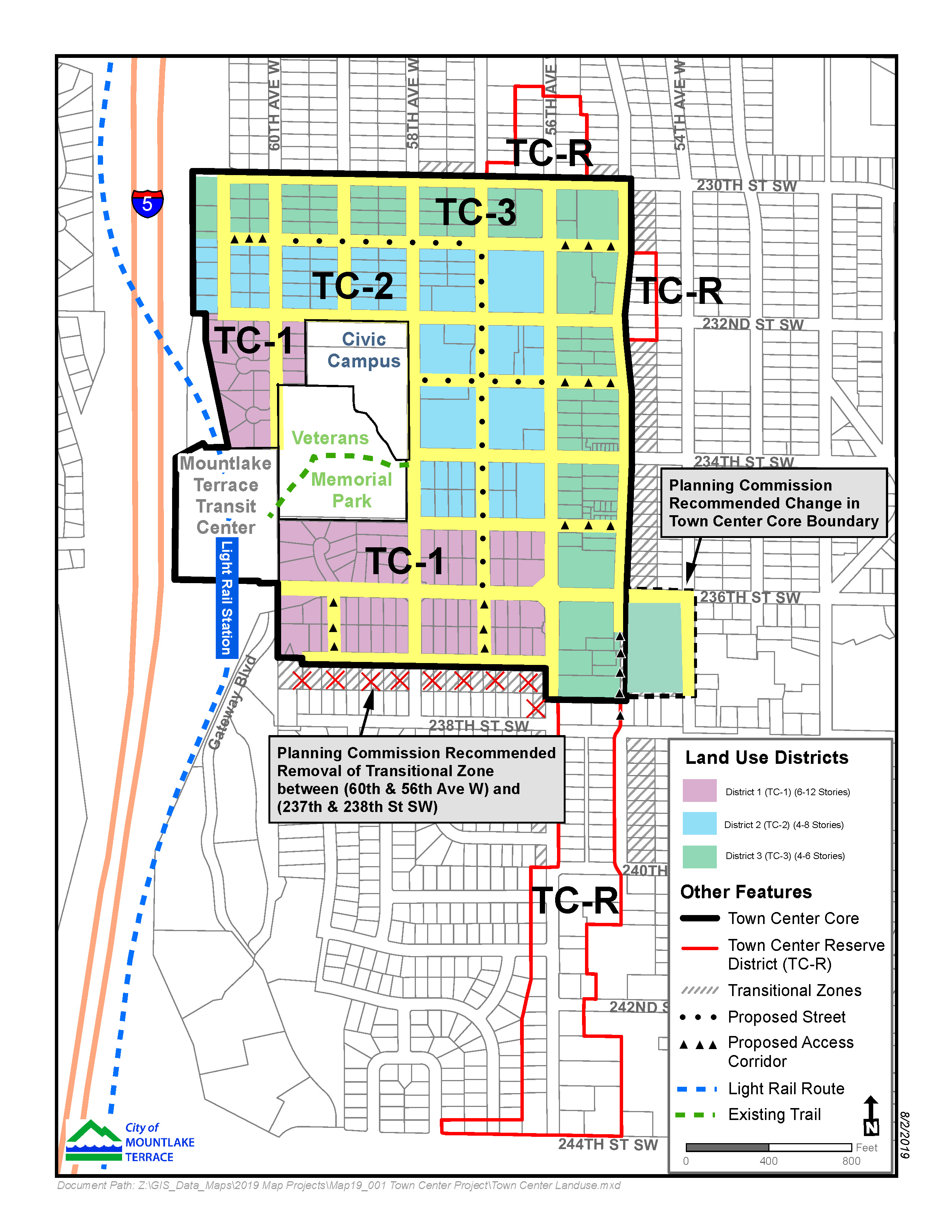 Town Center Map Recommended by Planning Commission