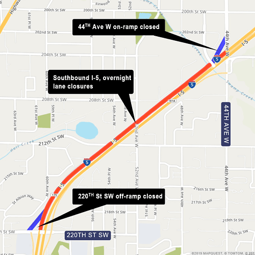 Map of Interstate 5 Lane & Ramp closures